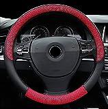 FREESOO Lenkradhülle Lenkrad Abdeckung Lenkradbezug aus Universal Webart 15 Zoll 38cm für Auto PKW-LKW SUV Anti-Rutsch Rot