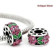 Antiguo acabado en plata rosa y flor verde de brillantes espaciador cuenta para pulsera. Compatible con la mayoría pulseras estilo Pandora.