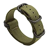Gemony Nato Strap 5 Anelli acciaio inossidabile spazzolato con fibbia in Nylon Zulu cinturino per orologio Dive Larghezza 20mm & 22mm, WB-013G
