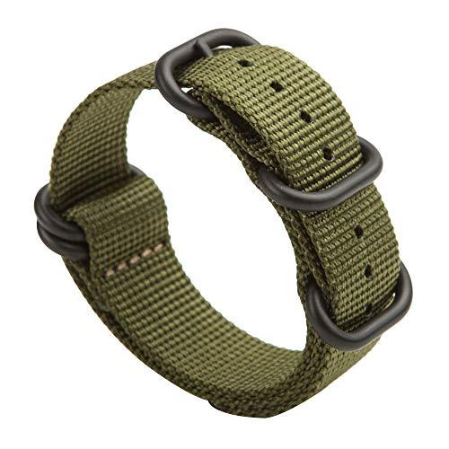 Gemony nato strap 5 anelli acciaio inossidabile spazzolato con fibbia in nylon zulu cinturino per orologio dive larghezza 20mm & 22mm, wb-013g22