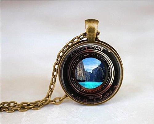 Zeiss Ikon Kamera Objektive Kopie Halskette, Vintage Stil Halskette, Steampunk Halskette Kamera Halskette, Wasserfall Necklae, Strand Halskette, (Objektiv-stil-kamera)