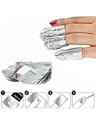 Shine-s 100pcs à ongles Tin Foil Wrap pour trempage Off Dissolvant pour vernis à ongles gel/paillettes/outils