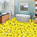 lsweia Gelb Blatt Fototapete 3D Bodenfliesen Aufkleber Wandbild Anti Wear Schlafzimmer Bad Wasserdichte PVC Selbstklebende Vinyl Bodenbelag
