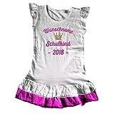 Shirtfun24 Mädchen Einschulung Schulkind Gold Krone Wunschname Kleid T-Shirt, Pink (Pink), 116