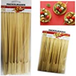 50 BBQ Bamboo Skewers Paddle Sticks W...