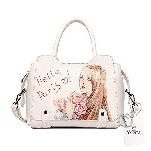 Borse di moda Yoome per ragazze Borse eleganti in ottone per la borsa da cuoio per sacchetti di borsa per la borsa della donna - Bianco bianca