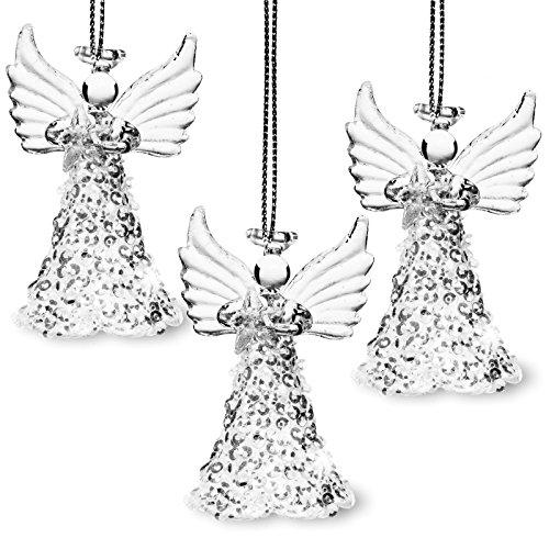 Sikora bs410vetro decorazioni albero di natale angelo con glitter rock e stella set da pezzi