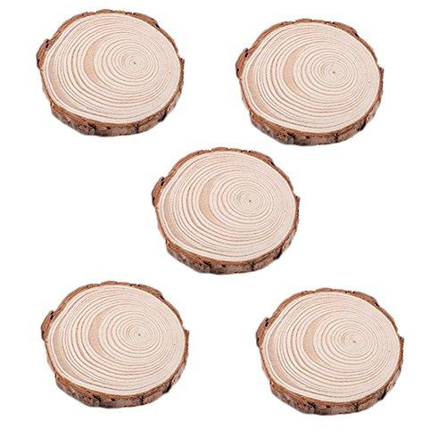 MoGist 5 Stück Holz Scheiben Runde Holzscheiben Dekoration Holz Weihnachtsbaum Verzierung DIY Handwerk Holzchip