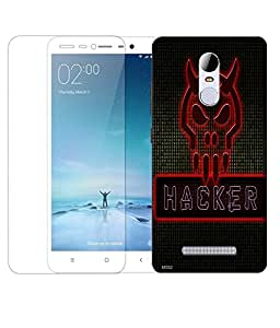Indiashopers Combo of Hacker HD UV Printed Mobile Back Cover Case and Tempered Glass For Xiaomi Redmi Note 3