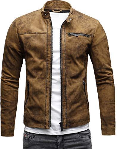 CRONE Epic Herren Lederjacke Cleane Leichte Basic Jacke aus weichem Schafs-Leder (M, Vintage Braun (Wildleder)) - Herren Jacke Braun Leder Für Aus
