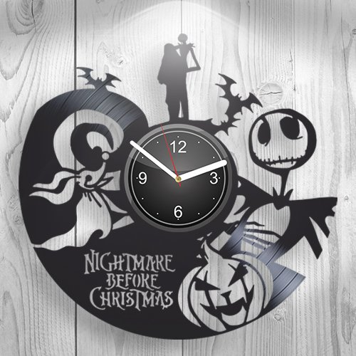 VDM Nightmare Before Christmas This is Halloween Cartoon Geschenk für Ihn, Freund, Freundin, Wandkunst, handgefertigte Vinyl-Wanduhr, Dekoration für Küche, Inspiration, einzigartige Raumdekoration