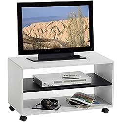 Meuble TV étagère sur roulettes ATLANTA, MDF laqué blanc noir