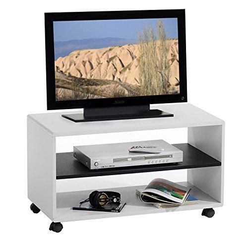 IDIMEX TV-Möbel TV-Rack Lowboard Fernsehtisch TV-Tisch TV-Element Atlanta, Weiß - Schwarz, mit Rollen (Multimedia-tisch)
