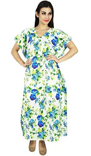Phagun Caftan Robe Imprimée Maxi Vêtement De Nuitlongues En Coton Bohemian Blanc Et Bleu