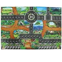 SM SunniMix 83 * 57cm Dinosaur Word Traffic Road Play Mat W/Track for Car Truck Train Toy