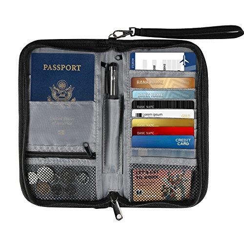 Ausweistasche, ONSON Reiseorganizer Reisepasstasche Mappe mit RFID Schutz für Damen Herren, für Pass, Kreditkarten, Flugkarten, Stift und andere Reise-Zubehör