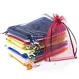 ZeWoo Bolsa de Organza, 100 Piezas 4 * 6 Pulgadas Bolsa de Organza de Regalo Bolsa de Joyas con Cordón Bolsa de Favores de Fiesta de Boda (multicolor)