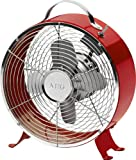 Tischventilator Metall Retro Lüfter Standventilator Ventilator 2 Stufen (Sicherer Stand, 26 cm, Windmaschine, 2 Stufen, Ruhiger Lauf, Metall-Schutzgitter, Rot)