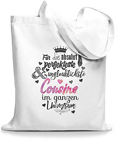 StyloBags Jutebeutel / Tasche Für die absolut perfekteste Cousine Weiß