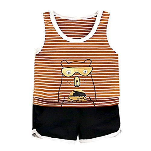 eidung Set, Gestreifte Cartoon Weste Tops T Shirt Kurze Hose Shorts Outfits Kostüm Jungen Kleidung 6 Monate - 3 Jahre ()