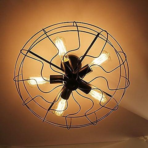 Ventilatore industriale stile lampada ferro Edison lampadina Barra da soffitto