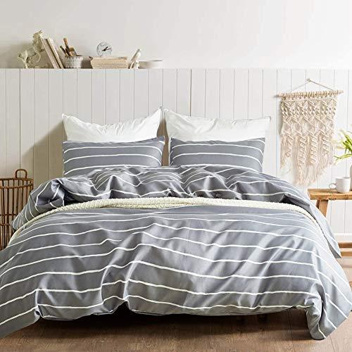 Zhng Bettwäsche 100% Mikrofaser Gebürsteter Stoff Bettbezug Set 3 Teilig Ultraweicher Streifen Grau Atmungsaktiv Bettbezug+2X Kissenbezüge,Queen -