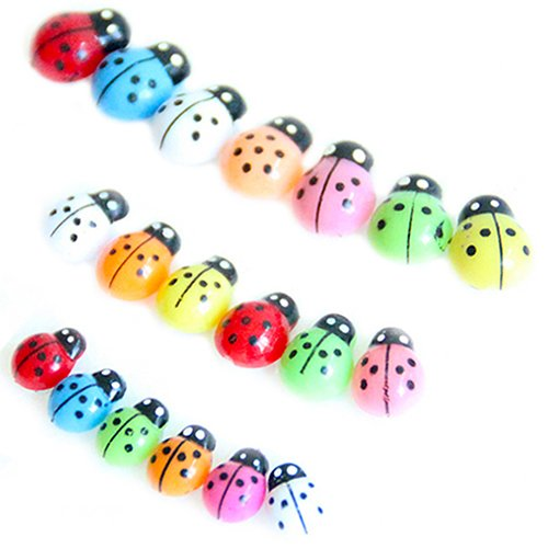 Quanjucheer 100 pcs coloré Mini Kid Jouets Coccinelle Coccinelle miniature Ornement multicolore