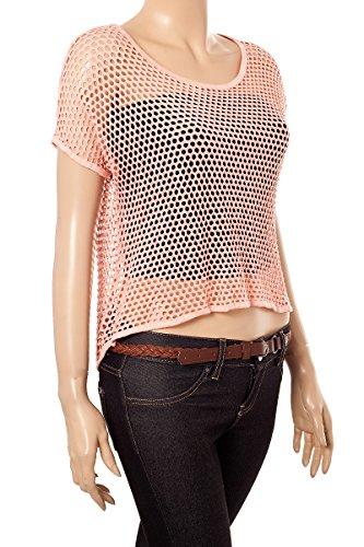 Moda Italy Tunika Shirt Netz Optik Kurzarm Flügelärmel Rücken Ausschnitt Apricot