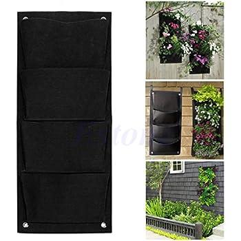 4 Taschen Wand Pflanztasche Pflanzbeutel Blumentopf Pflanzbehälter Pflanzenwand