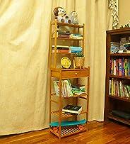 YATAI Wooden Bookshelf Bookcase Wood Storage Organizer Shelf Bamboo 7-Tier With Drawer Multifunctional Storage