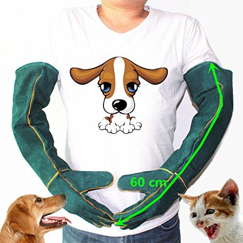 guanti gatto MASUNN Guanto Di Sicurezza Anti-Bite Guanti Ultra Lungo In Pelle Verde Animali Afferrare Mordere Guanti Protettivi Per Catturare Cane Gatto Rettile Animale