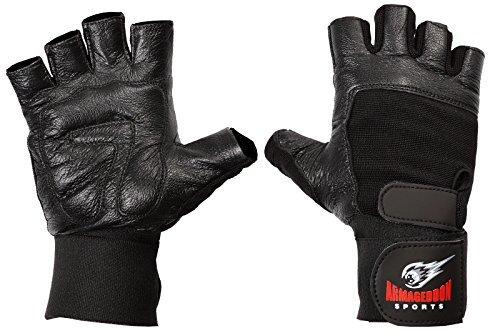guanti palestra pelle Guanti Palestra Uomo Per Sollevamento Pesi Pelle Polso Fitness Bodybuilding