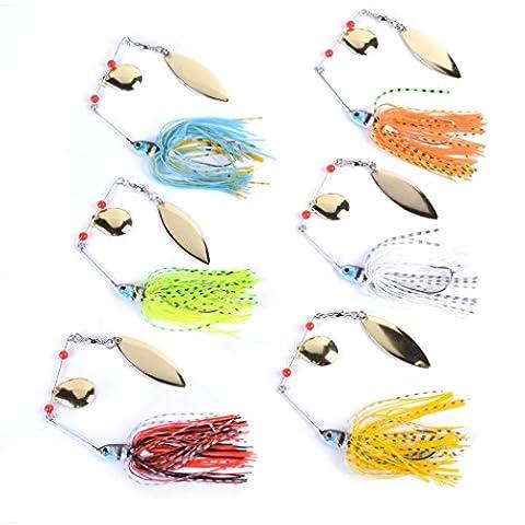 Aorace 6pcs/lot 14g 6colors Spinnerbait soutient Spirit Spinner Bait LuresSquies de pêche Pêche Hard Bait Lames Crochets Cuillères en métal