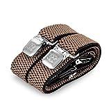 Hosenträger für Herren breit extra starken 4 cm mit 3er Clips Y-Form lange für Männer und Damen Hose (Beige)