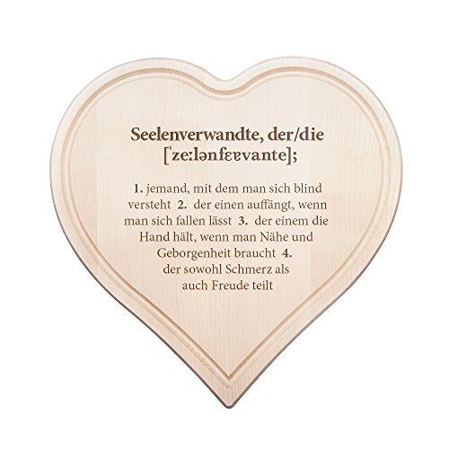 Schneidebrett Herz mit Gravur – Definition Seelenverwandte - Standard – Ideal als...