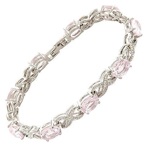 Jewellery Oval Cut Pink Sapphire Gemstones Fine CZ 18K White