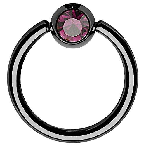 Piersando BCR Piercing Ring Universal Klemmring mit Zirkonia Kristall Klemm Kugel für Septum Brust Tragus Helix Nase Lippe Ohr Intim Nippel Chirurgenstahl Schwarz Lila 1,2mm x 10mm x 4mm