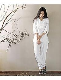 Ropa de algodón suelta comodidad ropa de yoga trajes   tops + pantalones    meditación  b5a6f95e03aa