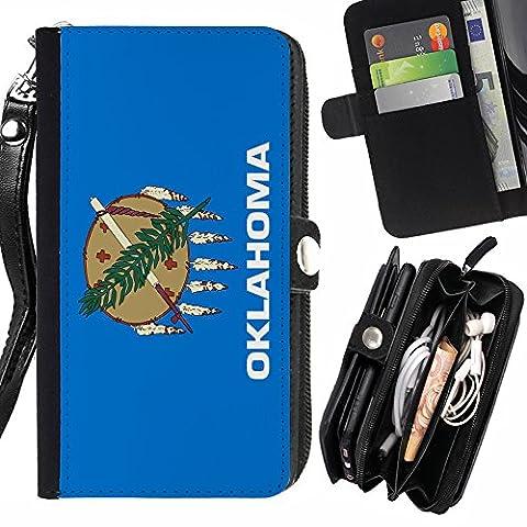 STPlus Oklahoma, The Sooner State Flagge USA Vereinigte Staaten von Amerika Geldbörsenhalter mit Handschlaufe und Reißverschluss Hülle Schutzhülle für Sony Xperia XA Ultra