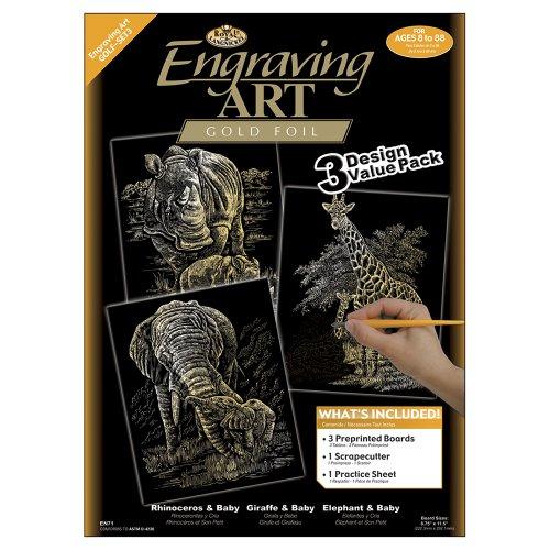 Royal & Langnickel GOLF-SET3 - Engraving Art/Kratzbilder, DIN A4, Afrikanische Wildtiere, 3-teilig Vorteilspack, gold