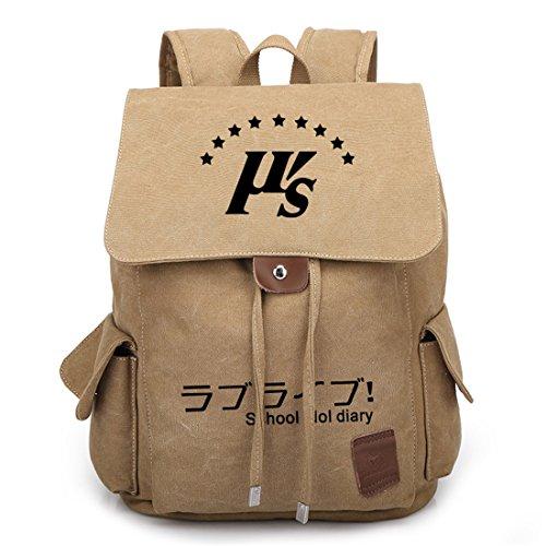 YOYOSHome, Zaino da scuola, cartella, motivo anime giapponese, cosplay Sword Art Online Black Love Live! Khaki