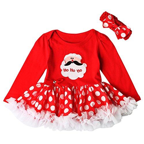 (Hankyky Baby Weihnachten Kleinkind Spielanzug Overall Bodies Kleider Mädchen Christmas Kleidung Set Outfit Strampler mit Stirnband (0-18Monate))