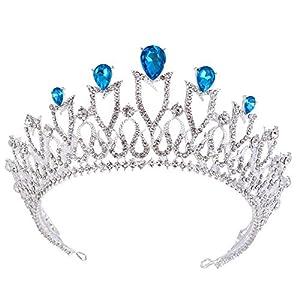auvwxyz Tiaras Bridal Crown Kopfschmuck Zubehör, schlanke minimalistische Atmosphäre, blau