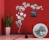00323 Adesivo murale con pomelli stile Swarovski per appendiabiti Wall Art - Ramo di ciliegio con gioielli - Misure 140x160 cm - argento - Decorazione parete, adesivi per muro, carta da parati