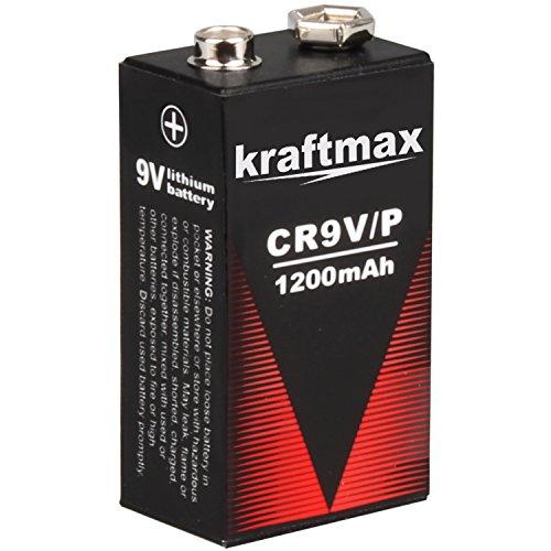 kraftmax 1x 9V Block Lithium Hochleistungs- Batterien für Rauchmelder/Feuermelder - 10 Jahre Batterie Lebensdauer