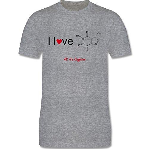 Nerds & Geeks - Strukturformel Koffein- I love Caffeine - Herren Premium T-Shirt Grau Meliert