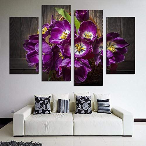 FYBSNDY 4 Grandi Quadri su Tela Moderni Fiori Viola Quadri su Tela Dipinti murali per la casa Vita 40x80x2 40x100x2 Senza Cornice
