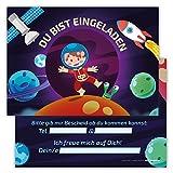 12 Lustige Einladungskarten Set Kindergeburtstag Motiv Astronaut Weltall PartyEinladung Geburtstag Rakete Planeten Mond Alien Satellit Universum Emoji