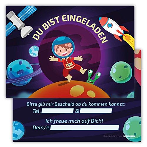 Kinder Orange Kostüm Astronaut (12 Lustige Einladungskarten Set Kindergeburtstag Motiv Astronaut Weltall PartyEinladung Geburtstag Rakete Planeten Mond Alien Satellit Universum)