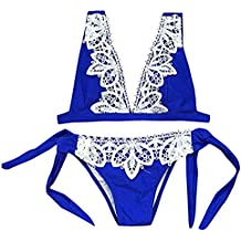 Conjuntos de bikinis de mujer Sexys traje de baño Sexy Bañadores Brasileños Mujer bañador de baño Señoras Beachwear mujer Biquinis bañador natación mujer niña Braguitas Vestidos de Baños (Azul, XL)